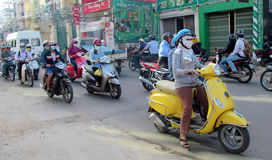 Asian motorbike crazy traffic on the street Royalty Free Stock Images