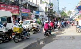 Asian motorbike crazy traffic on the street Stock Photo