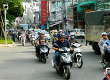 Asian motorbike crowd traffic on the street Stock Photography