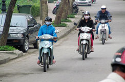 Asian motorbike traffic on the street Royalty Free Stock Photography