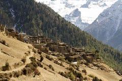 Asian mountain small village Nepal, Himalaya, Annapurna Conservation Area. Mountain landscape stock image