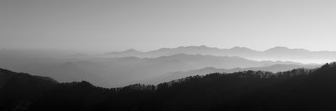 Asian mountain view. Nice asian mountain view in blach and white Royalty Free Stock Photos