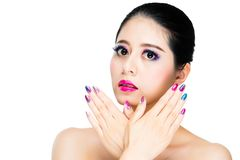 Asian multi colored black hair girl gaze Royalty Free Stock Images