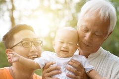 Asian multi generations family. stock photo