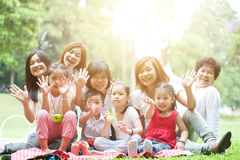 Asian multi generations family outdoor fun Stock Images