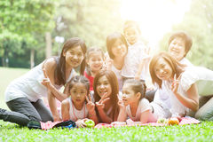 Asian multi generations family outdoors Stock Photography