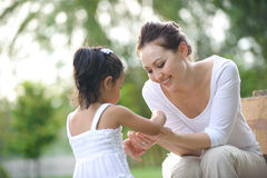 Asian Mum & daughter Stock Image