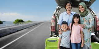 Asian muslim family travelling concept royalty free stock image
