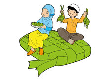 Asian muslim little kids with big ketupat Stock Images