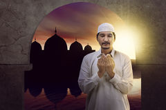 Asian muslim man wearing cap Stock Image