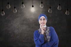 Asian muslim thinking under lamps in class Stock Photos