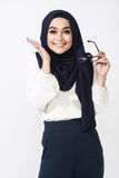 Asian muslimah woman expression. Beautiful asian muslimah woman with office attire showing different expression Stock Photography