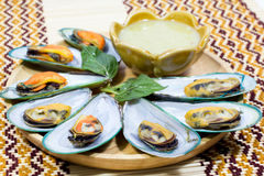 Asian mussel with chili sauce Royalty Free Stock Image