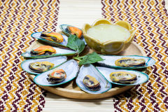 Asian mussel with chili sauce Stock Photography