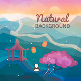 Asian natural background. Eastern Chinese landscape. Mountains, nature with traditional Chinese elements. Low polygon style flat illustrations. For web and Stock Photo