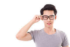 Asian nerd man looking at you Royalty Free Stock Photo
