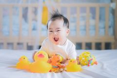 Asian New born baby sit and play an animal toy. On the bed, boy, kid, baby, play and relax concept Stock Photography