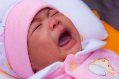 Asian new born crying Royalty Free Stock Photo