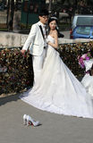 Asian newly wedding couple Stock Image