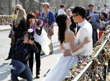 Asian newly wedding couple Royalty Free Stock Photo