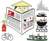 Asian news cartoon. Cartoon showing Asian man in coolie hat reading newspaper Stock Images