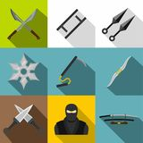 Asian ninja arsenal icon set, flat style. Asian ninja arsenal icon set. Flat style set of 9 asian ninja arsenal vector icons for web design Vector Illustration