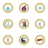 Asian ninja icon set, cartoon style. Asian ninja icon set. Cartoon set of 9 asian ninja vector icons for web isolated on white background Stock Images