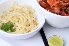 Asian noodle with baby octopus Stock Images