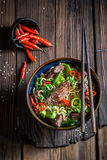 Asian noodle with beef and vegetables Stock Photography