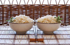 Asian noodle bowls Stock Photos
