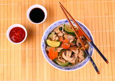 Asian noodle with chicken meat, vegetables, sauces Stock Photo