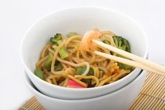 Asian noodle dish. Stir fry with veggies royalty free stock image