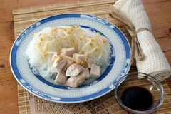 Asian noodle with organic vegetables and chicken Royalty Free Stock Images