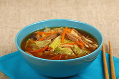 Asian noodle ramen soup with beef and vegetables Stock Photo