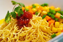 Asian noodle with  sauce and vegetables Stock Images