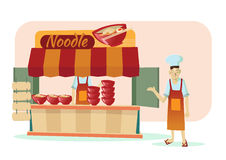 Asian noodle shop cartoon vector illustration. Asian noodle shop and chef Royalty Free Stock Photo