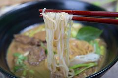 Asian noodle soup with pork meatball Stock Image