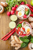 Asian noodle soup. Asian ramen noodle soup with fresh veggies and hardboiled egg Royalty Free Stock Photo