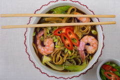 Asian noodle soup with shrimps Royalty Free Stock Images