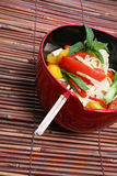 Asian Noodles. A colorful asian dish of noodles over a bamboo placemat royalty free stock photos