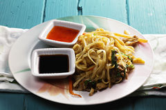 Asian noodles with chicken Stock Image