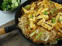 Asian noodles with eggs. Fried asian noodles with omelette and scallions Stock Photography