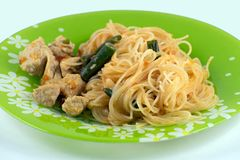 Asian noodles with green beans and turkey. Pad Thai with turkey. Rice noodles. royalty free stock photography