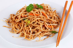 Asian noodles. With mixed vegetables Stock Image
