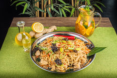 Asian noodles with mushrooms Royalty Free Stock Photo