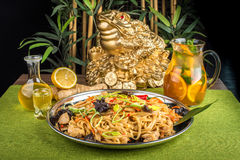 Asian noodles with mushrooms Royalty Free Stock Images