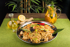 Asian noodles with mushrooms Stock Image