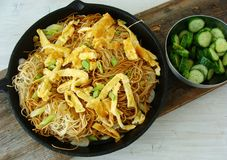Asian noodles with omelette strips. Fried asian noodles with omelette strips and scallions Stock Photography