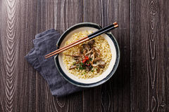 Asian noodles with Oyster mushrooms Stock Image