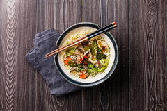 Asian noodles with oyster mushrooms and vegetables Stock Images